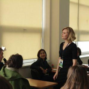 Анна Кулик на дне тренингов для студентов в МГУ